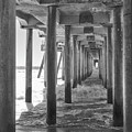 Follow The Lines Under Huntington Beach Pier by Ana V Ramirez