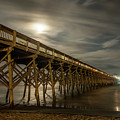 Folly Beach Pier At Full Moon by Gunter Weber