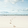 Footprints Leading Into Sea by Dune Prints by Peter Holloway