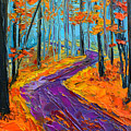 Autumn Forest And Purple Path - Orange Red Foliage - Modern Impressionist Knife Palette by Patricia Awapara
