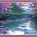 Forest River Scene. L B With Alt. Decorative Ornate Printed Frame. No. 1 by Gert J Rheeders