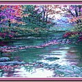 Forest River Scene. L B With Decorative Ornate Printed Frame. by Gert J Rheeders