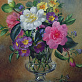Forget Me Nots And Primulas In Glass Vase by Albert Williams