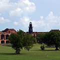 Fort Jefferson Parade Grounds And Harbor Light by Jason O Watson