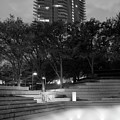 Fort Worth Water Gardens B W 040918 by Rospotte Photography