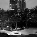 Fort Worth Water Gardens Monochrome 040918 by Rospotte Photography
