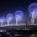 Forth Road Bridge Fireworks by Cathy Lovell