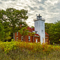 Forty Mile Point Lighthouse Lake Huron Lower Peninsilat Mi  by Jack R Perry