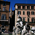 Fountain Depicting Neptune The Piazza Navona The Spire Of The Church Of Santa Maria Della Pace Rome by Michael Walters