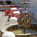 Fountain In Courtyard by Sally Weigand