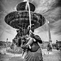 Fountain On Place De La Concorde - Paris by Barry O Carroll