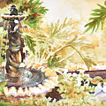 Fountain With Clay Birds by John Dougan