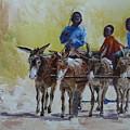 Four Donkey Drawn Cart by Yvonne Ankerman