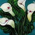 Four Long Lilies by Richard Lee