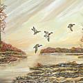 Four Mallards Over Autumn Lake by Samuel Showman