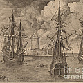 Four-master (left) And Two Three-masters Anchored Near A Fortified Island With A Lighthouse by Frans Huys After Pieter Bruegel The Elder