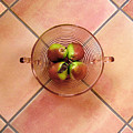 Four Pears In A Bowl On Tile by Lucyna A M Green