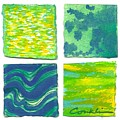 Four Squares Blue, Green, Yellow by Cynthia Conklin