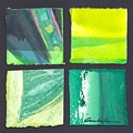 Four Squares Green, Yellow Green, Black by Cynthia Conklin
