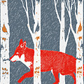Fox And Birch Trees by Margaux Jones