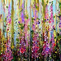 Foxgloves Large Painting by Angie Wright