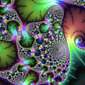 Fractal Spirals And Leaves With Jewel Colors by Matthias Hauser
