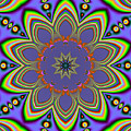 Fractalscope Flower 10 In Yellow Blue And Orange by Rose Santuci-Sofranko