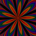 Fractalscope Flower 11 In Orange Green Purple And Black by Rose Santuci-Sofranko