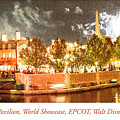France Pavilion At Night With Fireworks, Epcot, Walt Disney Worl by A Gurmankin