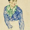 Frauenbildnis Mit Blauem Und Grunem by MotionAge Designs