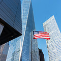 Freedom Tower And American Flag by SR Green