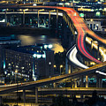 Freeway Winds Through Portland, Oregon At Night by Bryan Mullennix