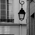 French Alley Lantern-black And White by Jani Freimann