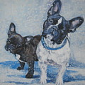 French Bulldog Mom And Pup by Lee Ann Shepard