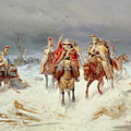 French Forces Crossing The River Berezina In November 1812 by Bogdan Willewalde