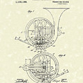 French Horn Musical Instrument 1914 Patent by Prior Art Design