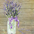 French Lavender Rustic Country Mason Jar Bouquet On Wooden Fence by Audrey Jeanne Roberts