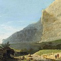French Master 1st Half Of Th 19th Century   Rocky Cliff Off Shore by Rocky Clif