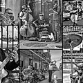 French Quarter Musicians Collage Bw by Steve Harrington