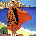 French Riviera, Woman On The Beach, Paris, Lyon, Mediterranean Railway by Long Shot
