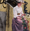 Frescoe Painting Of A Woman In Traditional Dress With Flowers Am by Reimar Gaertner