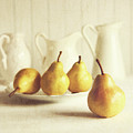 Fresh Pears On Old Wooden Table by Sandra Cunningham