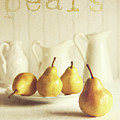 Fresh Pears On Old Wooden Table With Vintage Feeling by Sandra Cunningham