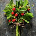 fresh Wild strawberries on wooden background  by Natalia Klenova