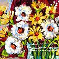 Freshly Cut Yellow And White Daisies In Glass Vase Original Painting Carole Spandau by Carole Spandau