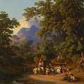 Frey  Johann Jakob 1813 Basel   1865 Frascati  Wedding Procession Of Italian Farmers by Frey  Johann Jakob