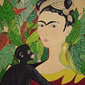 Frida With Monkey And Bird by Stephanie Moore