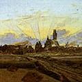 Friedrich Caspar David Neubrandenburg In Flames by PixBreak Art