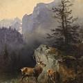 Friedrich Gauermann  Red Deer At The Watering Hole by Friedrich Gauermann