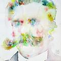 Friedrich Nietzsche - Watercolor Portrait.7 by Fabrizio Cassetta